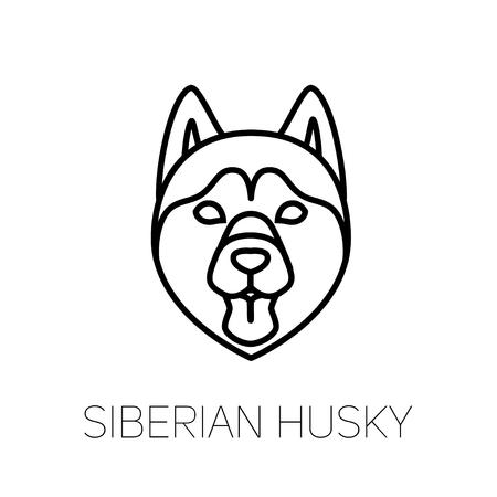 Lengua de Husky Siberiano. Icono de cara lineal de raza de perro. Cabeza de perro de línea vector aislado
