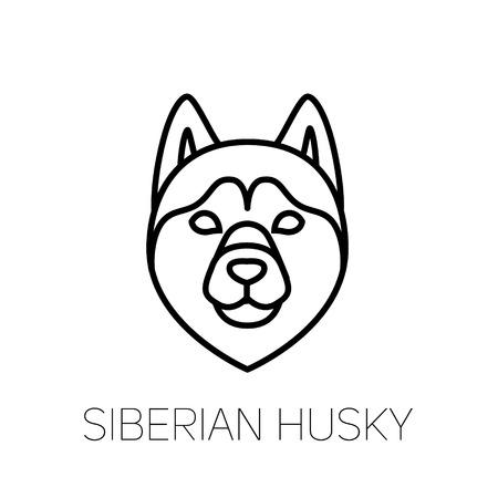 Siberian Husky linear face icon. Isolated outline dog head vector