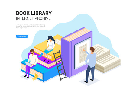 Book library isometric. Internet archive concept and digital learning for web banner. E library vector illustration.