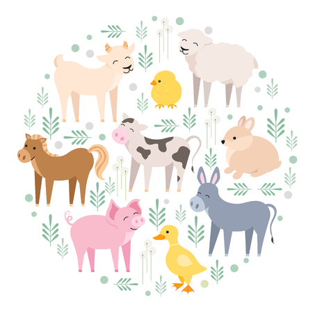 Cute farm animals cow, pig, lamb, donkey, bunny, chick, horse, goat, duck isolated. Domestic animals kid set in round composition vector illustration