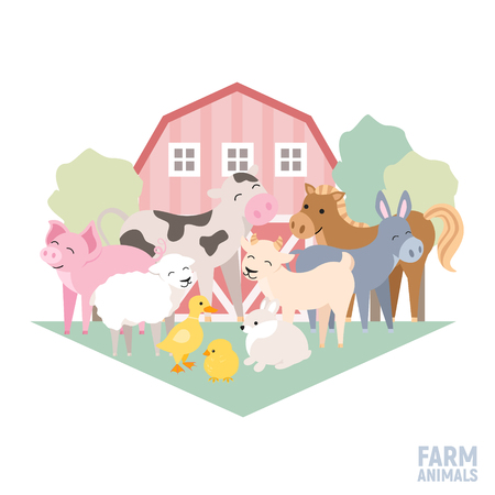 Cute farm animal kid set cow, pig, lamb, donkey, bunny, chick, horse, goat, duck isolated. Domestic animals composition with house vector illustration Çizim