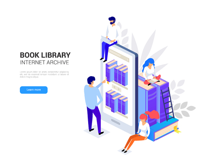 Online library concept. Smartphone with bookshelves. Online education isometric. Web archive and e-learning tutorials for social media 3d vector illustration