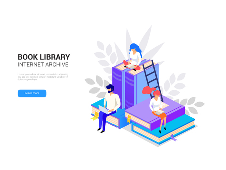 Isometric library concept. Web archive and e-learning tutorials for social media banner. Online education and internet studying. Digital book 3d vector illustration Imagens