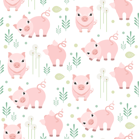 Cute pig seamless pattern on white background. Happy piggy vector illustration