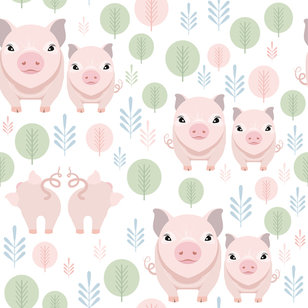 Cute pig seamless pattern on white background. Happy piggy vector illustration Foto de archivo - 127704007
