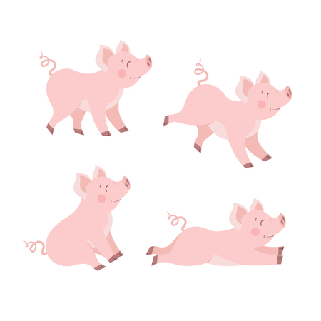 Cute pig set vector. Happy piggy collection isolated vector illustration  イラスト・ベクター素材
