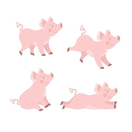 Cute pig set vector. Happy piggy collection isolated vector illustration Illustration