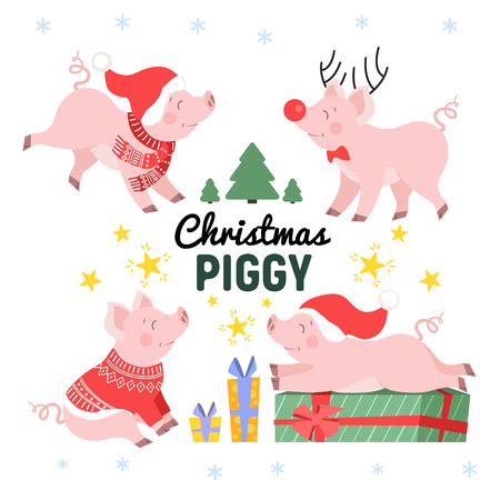 Cute Christmas pig set. Happy holiday piggy collection isolated vector illustration