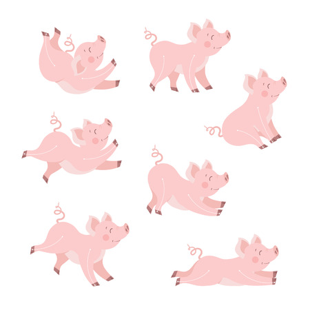 Cute pig animation set vector illustration. Happy piggy collection isolated