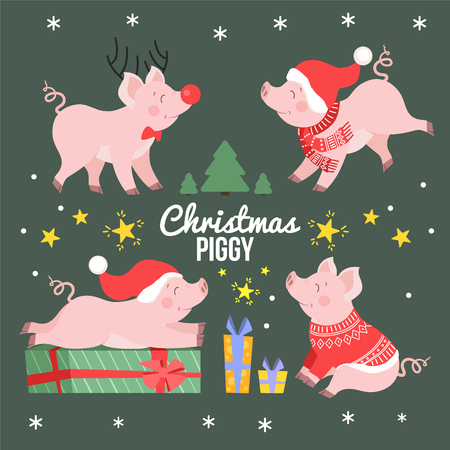 Cute Christmas pig set vector illustration. Happy holiday piggy collection isolated