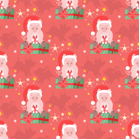 Cute winter pig seamless pattern for fabric, card, paper. Christmas piggy kid vector illustration