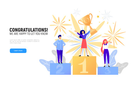 First place winner award. Champion standing on a podium with a prize. Woman victory concept. Success vector illustration Vectores