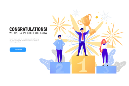 First place winner award. Champion standing on a podium with a prize. Man victory concept. Success vector illustration