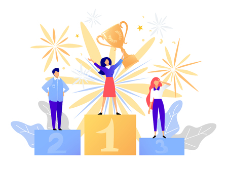First place winner award. Champion standing on a podium with a prize. Woman victory concept. Success vector illustration Illustration