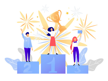 First place winner award. Champion standing on a podium with a prize. Woman victory concept. Success vector illustration  イラスト・ベクター素材