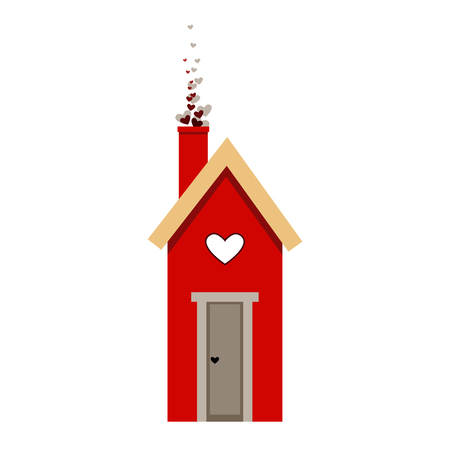 Red starling house for Valentine day card. Nesting box. Love bird house icon isolated on white