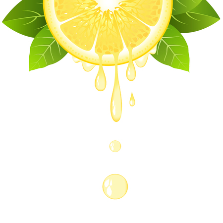 Realistic half lemon slice with leaves and drops of juice. Juicy fruit. Fresh citrus design on white background vector illustration Illustration