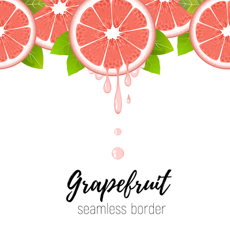 Realistic grapefruit slice seamless border isolated on white background. Fresh citrus with juice drops vector illustration