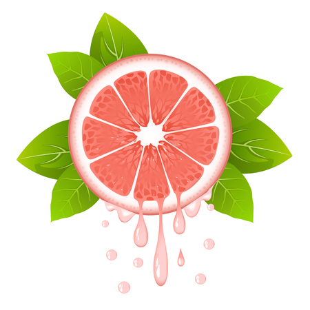 Realistic grapefruit slice with leaves and drops of juice. Juicy fruit. Fresh citrus design on white background vector illustration Illustration