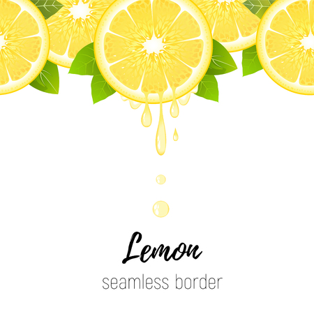 Realistic lemon slice seamless border isolated on white background. Fresh citrus with juice drops vector illustration