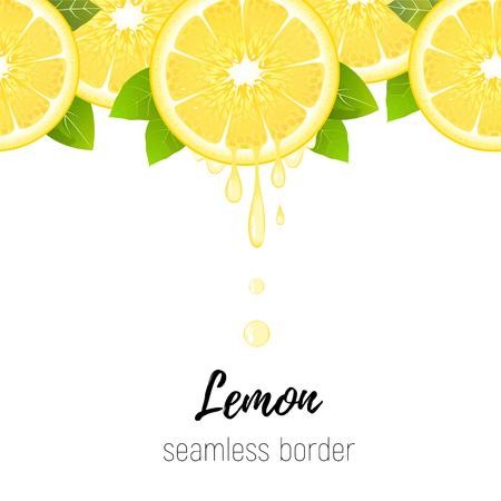 Realistic lemon slice seamless border isolated on white background. Fresh citrus with juice drops vector illustration