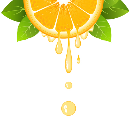 Realistic half orange slice with leaves and drops of juice. Juicy fruit. Fresh citrus design on white background vector illustration