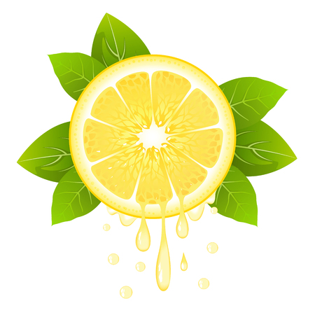 Realistic lemon slice with leaves and drops of juice. Juicy fruit. Fresh citrus design on white background vector illustration Illustration
