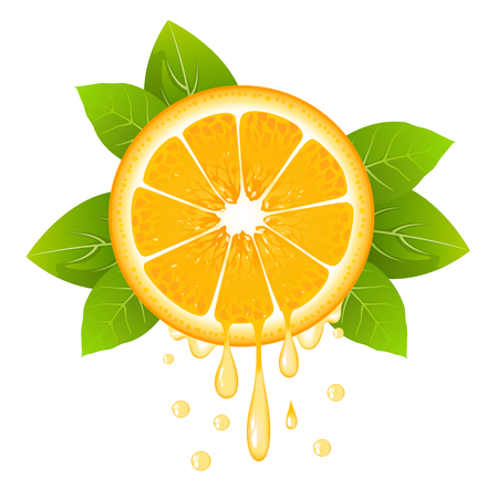 Realistic orange slice with leaves and drops of juice. Juicy fruit. Fresh citrus design on white background vector illustration Illustration