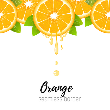 Realistic orange slice seamless border isolated on white background. Fresh citrus with juice drops vector illustration Ilustração