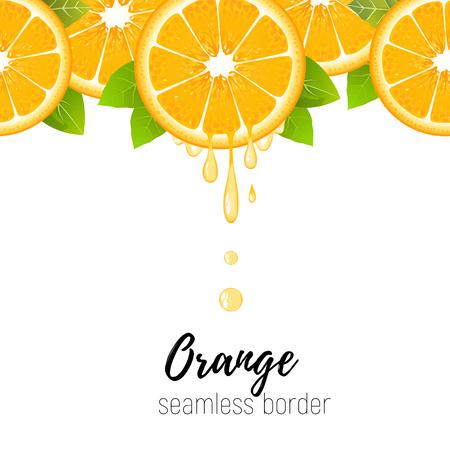 Realistic orange slice seamless border isolated on white background. Fresh citrus with juice drops vector illustration Illustration