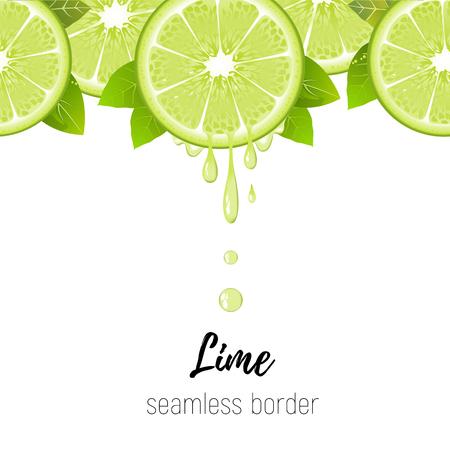 Realistic lime slice seamless border isolated on white background. Fresh citrus with juice drops vector illustration Ilustração