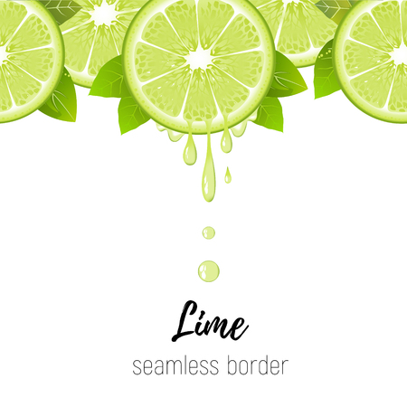 Realistic lime slice seamless border isolated on white background. Fresh citrus with juice drops vector illustration Illustration