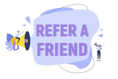 Refer a friend concept background with megaphone for a web page. Business promotion, advertising, calling through a shout, online alerting flat vector illustration