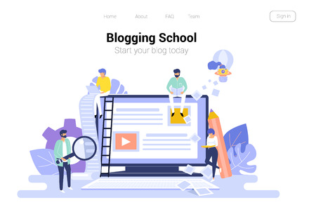 Blogging and copywriting concept for creative blog post. Content management. Seo web background with bloggers flat vector illustration