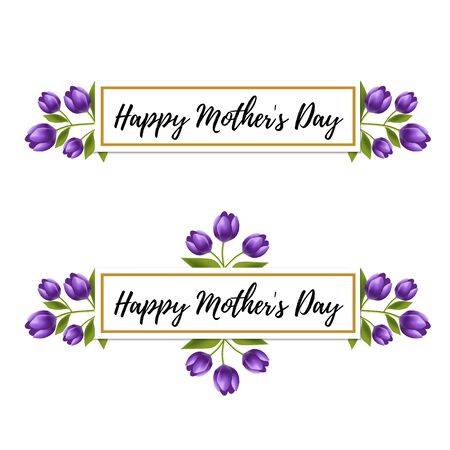 Floral design. Happy Mothers day violet tulip flower ornament for card, invitation. 8 march card. Realistic floral frame. Happy womens day floral card design vector illustration