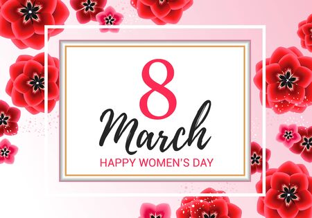 ???????? RGB8 march greeting with red flowers on pink background . Happy womens day floral card design vector illustration Stock Photo