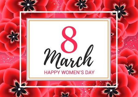 8 march background with red flowers. Happy womens day floral card design  illustration isolated Banco de Imagens