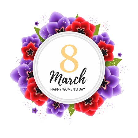 8 march background with violet and red tulip flowers. Realistic floral wreath. Happy womens day floral card design  illustration Stock Photo