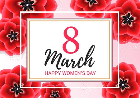 8 march greeting with red flowers on pink background . Happy womens day floral card design vector illustration