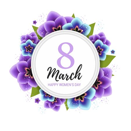 8 march background with violet tulip flowers. Happy womens day floral card design vector illustration Banco de Imagens