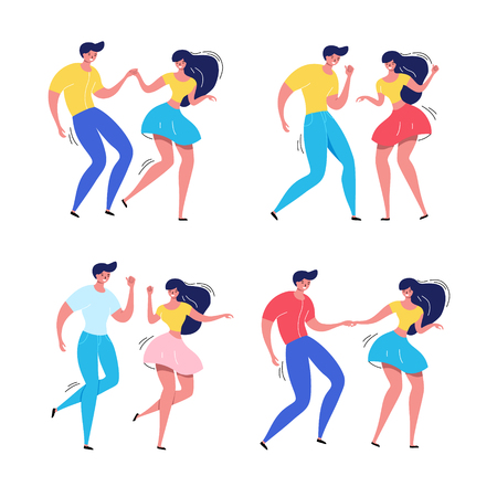 Dancing couple vector illustration. Happy swing dancers. Ilustração