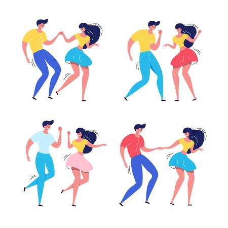 Dancing couple vector illustration. Happy swing dancers. Illustration