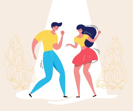 Dancing couple with audience. Rockabilly dance party. Happy swing dancers with viewers vector illustration isolated Foto de archivo - 127968699