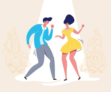 Dancing couple with audience. Rockabilly dance party. Happy swing dancers with viewers vector illustration isolated Illustration