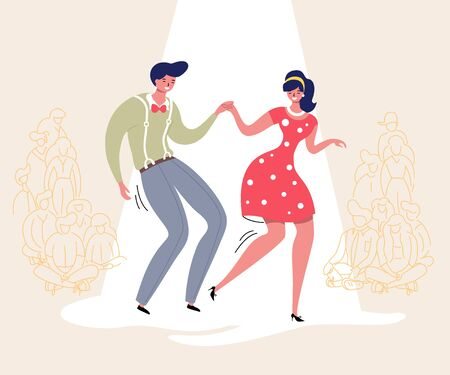 Dancing couple with audience. Rockabilly dance party. Happy swing dancers with viewers vector illustration isolated 일러스트