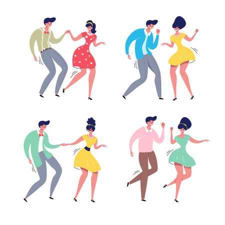 Dancing couple set. Rockabilly dance party. Happy swing dancers vector illustration isolated