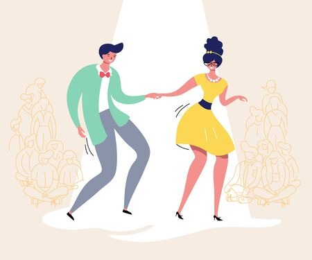 Dancing couple with audience. Rockabilly dance party. Happy swing dancers with viewers vector illustration isolated Ilustração