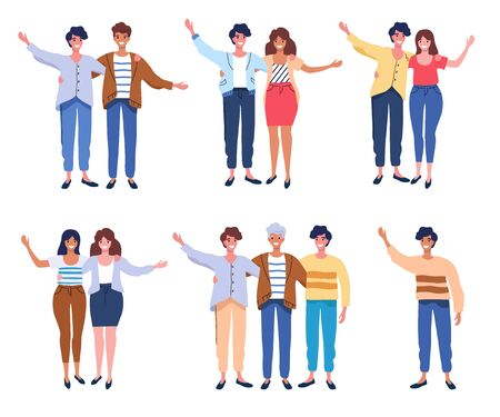 Happy people group portrait. Friends waving hands, couples embracing each other vector illustration isolated on white Illustration