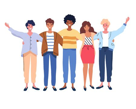 Happy people group portrait. Friends waving hands, embracing each other vector illustration on white