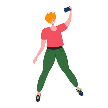 Jumping man, smile and taking selfie for social media holding camera in hand vector illustration isolated on white  イラスト・ベクター素材